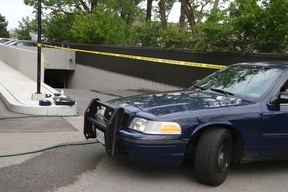 A man died after being overcome by gas fumes in the underground garage of the apartment building at 12 Torrance Rd. on Wednesday, May 28, 2014. Veronica Henri/Toronto Sun/QMI Agency