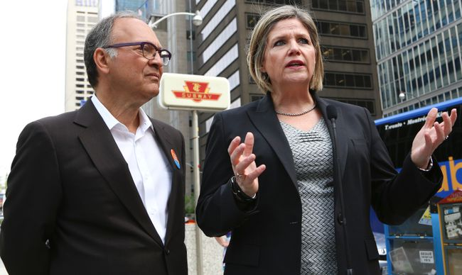 NDP leader Andrea Horwath along with NDP Trinity-Spadina candidate Rosario Marchese outside St. Andrew's station Thursday. (DAVE THOMAS/Toronto Sun)