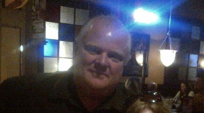 Rob Ford poses for a photo at Crabby Joe's in Bracebridge on May 28, 2014 — his 45th birthday. (Photo courtesy of Victoria Thompson)