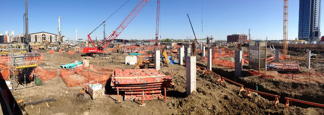 Panorama ground level view of the new under construction downtown Rogers Place arena