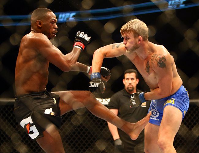 Jon Jones defeats Alexander Gustafsson during the light heavyweight championship bout during UFC 165 at the Air Canada Centre in Toronto on Sunday September 22, 2013. (Dave Abel/Toronto Sun/QMI Agency)