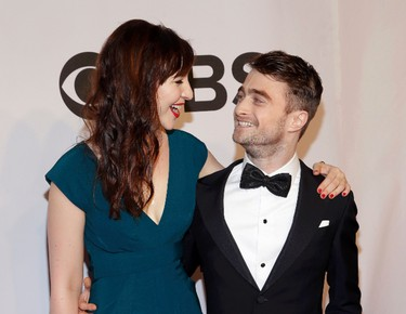 Actor Daniel Radcliffe arrives with girlfriend Erin Darke for the American Theatre Wing's 68th annual Tony Awards at Radio City Music Hall in New York, June 8, 2014. REUTERS/Andrew Kelly