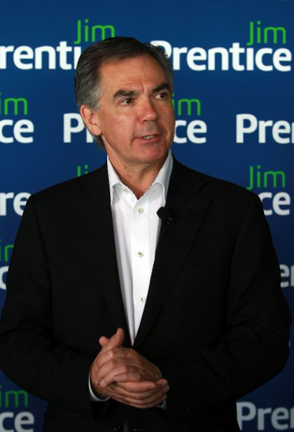 PC Leadership candidate Jim Prentice speaks to the media.