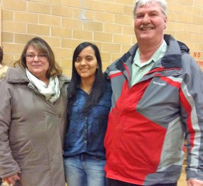The AMDSB has welcomed international students for the past several years, including Bruna Sigeeredo-Dasilva (center), of Brazil. She was one international student that attended Mitchell District High School for one semester in the 2013-2014 school year. She is seen here with her host family Kathy Paliwoda (left) and her husband Peter Chessell. SUBMITTED PHOTO
