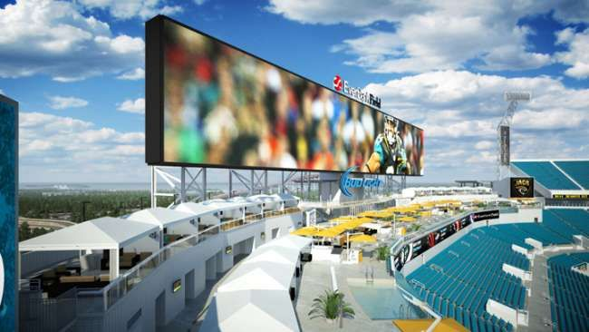 A look at some of the poolside cabanas that can be rented for Jacksonville Jaguars home games.