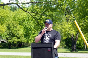 President of OPSEU Local 719, James Nowe gives a speech at a rally held outside the Kenora Jail on Monday, June 9.