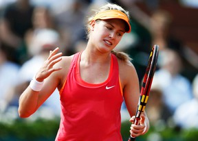 Eugenie Bouchard reacts during her French Open semifinal match against Maria Sharapova in Paris, June 5, 2014. (VINCENT KESSLER/Reuters)