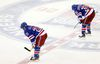 New York Rangers' Martin St. Louis and Mats Zuccarello skate off the ice after being shut out in Game 3 of the Stanley Cup final on June 9, 2014. (ADAM HUNGER/USA TODAY Sports)