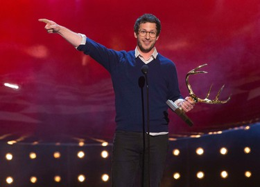 """Actor Andy Samberg accepts the Primetime award at the eighth annual Spike TV's """"Guys Choice"""" awards in Culver City, California, June 7, 2014. REUTERS/Mario Anzuoni"""