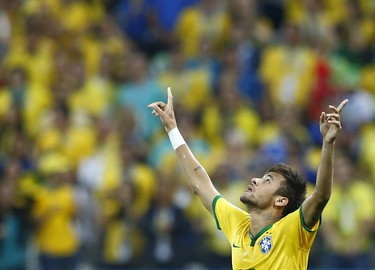 Brazil's Neymar celebrates a goal during the 2014 World Cup opening match against Croatia on June 12.