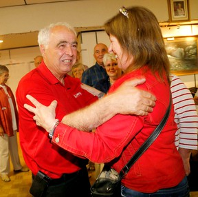 Lou Rinaldi hugs a supporter as he arrives at the Brighton Legion, following his win in the Northumberland-Quinte West riding Thursday evening.  EMILY MOUNTNEY/QMI Agency