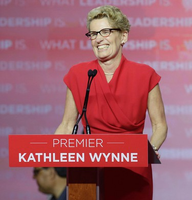 Liberal leader Kathleen Wynne celebrate what looks to be a Liberal victory in Toronto, Ont. on Thursday June 12, 2014. Craig Robertson/Toronto Sun/QMI Agency
