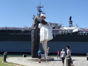 The Kissing Sailor Statue at Tuna Harbor Park in San Diego.