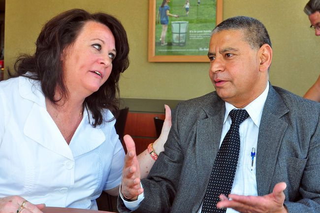 Mohinder Banga is seen speaking with a supporter back in May. Banga was seeking the Conservative Party of Canada nomination for Edmonton-Wetaskiwin but had his candidacy rejected. (file photo)