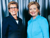 Premier Kathleen Wynne, left, and partner Jane Rounthwaite, right, meet Hillary Clinton in Toronto Monday, June 16, 2014. (Handout)