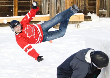 Jeff Lehoux throws a snowball during Yukigassen, a competative organized snowball fight, at Fort Edmonton Park in Edmonton, Alta., on Wednesday, January 5 2011. Edmonton will host the first ever Canadian Championships from March 4 to 6 2011. Yukigassen is Japanese for snow battle.   AMBER BRACKEN/EDMONTON SUN/ QMI AGENCY