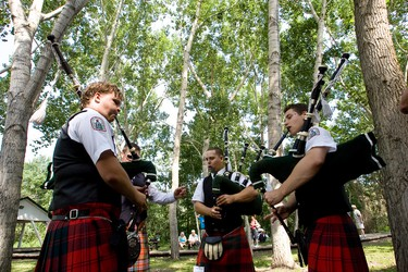 Members of the Edmonton Boys Pipe Band warm up for a performance during the Celtic Gathering held at Fort Edmonton Park in Edmonton, Alberta, on July 14, 2012. The event, which celebrates Celtic cultural traditions and sports, continues through July 15. IAN KUCERAK/EDMONTON SUN/QMI AGENCY