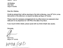Mayor Rob Ford's letter stating he plans to return to work June 30, 2014, after two months in rehab.