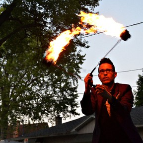 A fire spinner was among the acts at last year's Skeleton Park Arts Festival. Supplied photo