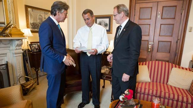 Canada's Ambassador to the U.S. Gary Doer (L) with  MP Rob Merrifield (R) with U.S. Speaker of the House John Boehner in his Capitol Hill office, Thursday, June 19, 2014. (Heather Reed/Office of Speaker John Boehner)