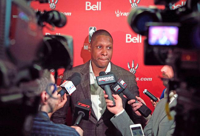 Raptors GM Masai Ujiri talks about the coming NBA draft during a media availabilty. Toronto will pick 20th in the first round on Thursday night. (CRAIG ROBERTSON/Toronto Sun)