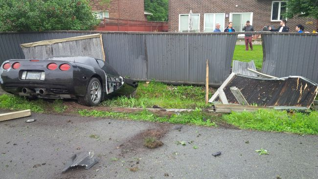 Corvette smashes into backyard after Fallowfield Rd. crash_2