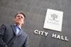 Roger Caranci poses for a photo outside city hall Tuesday after announcing his candidacy for mayor in the municipal election. (CRAIG GLOVER/The London Free Press)