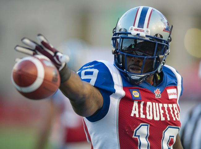 SJ Green during the first half between the Montreal Alouettes and Ottawa RedBlacks Memorial Stadium Percival Molson Montreal, Friday, June 20, 2014. (PIERRE-PAUL POULIN / QMI AGENCY)