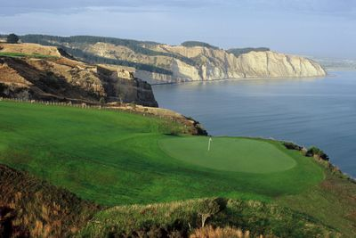 The scenic Pirate's Plank, aka the 15th hole, at New Zealand's world renowned Cape Kidnappers golf course. PHOTO COURTESY THE FARM AT CAPE KIDNAPPERS