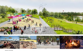 This artist's conception shows the proposed urban beach at Louise McKinney Park. (Supplied)