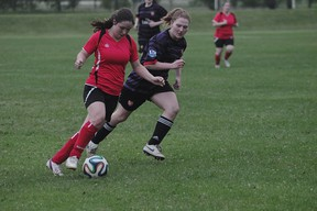 Action from the Portage Blaze/Heat FC 0-0 draw June 25. (Kevin Hirschfield/THE GRAPHIC)