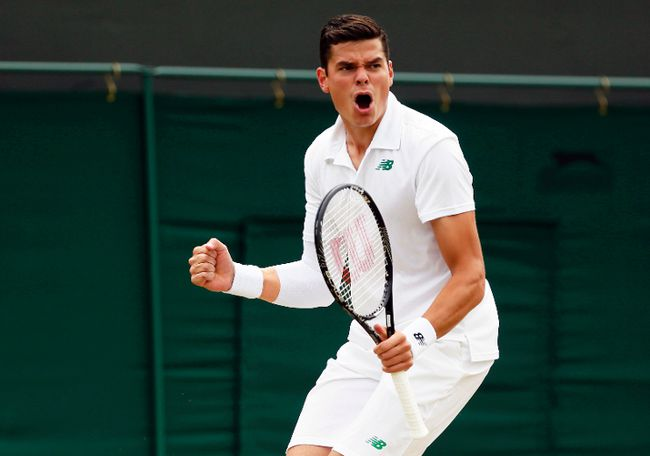 Milos Raonic reacts after he breaks Jack Sock during their men's singles match at Wimbledon, in London, June 26, 2014. (STEFAN WERMUTH/Reuters)