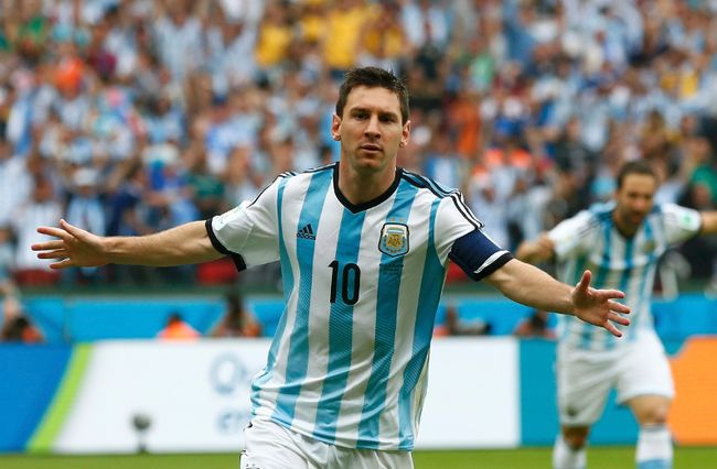 Argentina's Lionel Messi celebrates after scoring against Nigeria at the World Cup on Wednesday. (REUTERS)