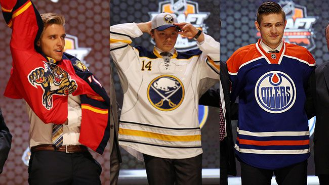 Aaron Ekblad (Florida Panthers), Sam Reinhart (Buffalo Sabres), and Leon Draisaitl (Edmonton Oilers) didn't surprise many when they were the top 3 selected in the 2014 NHL Draft. (REUTERS)