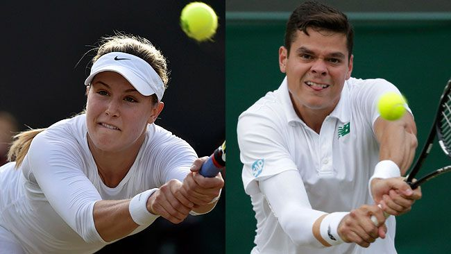 Canada's Eugenie Bouchard and Milos Raonic became the fourth and fifth Canucks to make the quarterfinals of Wimbledon. (REUTERS)