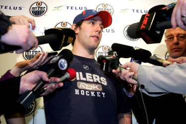 Edmonton, AB, Apr 13, 2010.       Edmonton Oilers Sam Gagner speaks to the media after completing medicals on the team's clean out day at Rexall Place.      PERRY MAH /EDMONTON SUN QMI AGENCY