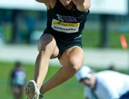 Espanola's Caroline Ehrhardt competes at the Canadian Track and Field Championships in Moncton, N.B., on the weekend. Ehrhardt won her fourth straight senior women's triple jump title.