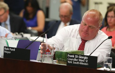 Mayor Rob Ford attends his first executive meeting on Wednesday, July 2, 2014. (VERONICA HENRI/Toronto Sun)