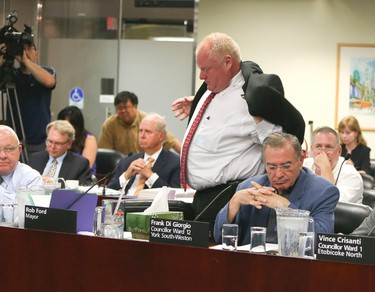 Mayor Rob Ford leaves over an hour earlier after he attending his first executive meeting on Wednesday, July 2, 2014. (VERONICA HENRI/Toronto Sun)