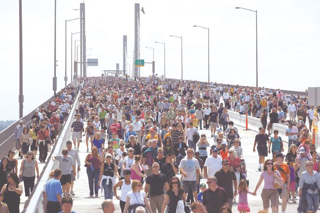 The crowds walking the Golden Ears Bridge during a preview were huge, but traffic volume has been anything but. (FILE PHOTO)