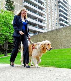 Diane Bergeron, she travels on airplanes with her seeing-eye dog Lucy.  Photo Courtesy/Curtis Comeau.