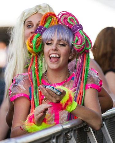 A Lady Gaga fan arrived hours ahead of her showtime to be closest to the stage at Bluesfest in Ottawa on Saturday July 5, 2014. Errol McGihon/Ottawa Sun/QMI Agency