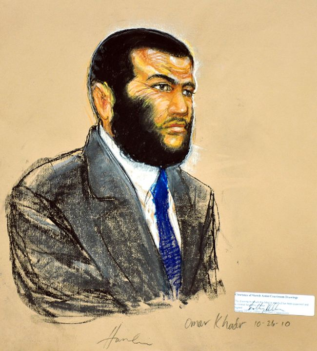 A courtroom sketch shows defendant Omar Khadr, a native of Toronto, listening to testimony during his sentencing hearing at the Guantanamo Bay Naval Base in Cuba, in this sketch from October 26, 2010. (Janet Hamlin/Pool)