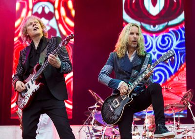 James Young (L) and Tommy Shaw of Styx performing at Bluesfest on Tuesday July 8, 2014. Errol McGihon/Ottawa Sun/QMI Agency