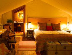 A look inside the beautiful tents at Clayoquot Wilderness Resort in British Columbia. (Clayoquot Wilderness Resort)