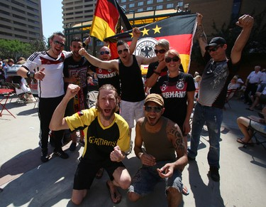 Local Germany soccer fans gather at Centennial Plaza in downtown Edmonton, AB for the final game of the 2014 World Cup on July 13, 2014. Trevor Robb/Edmonton Sun/QMI Agency
