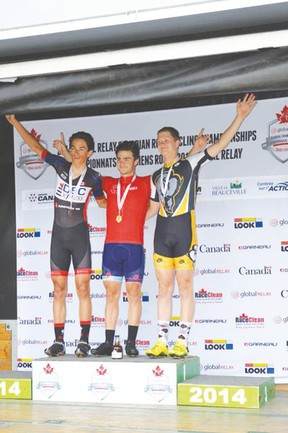 Portage la Prairie cyclist Willem Boersma, right, was third in the criterium race at the 2014 Global Relay Canadian Junior Road Championships in Beauceville, Que. last week. (Cycling Canada)