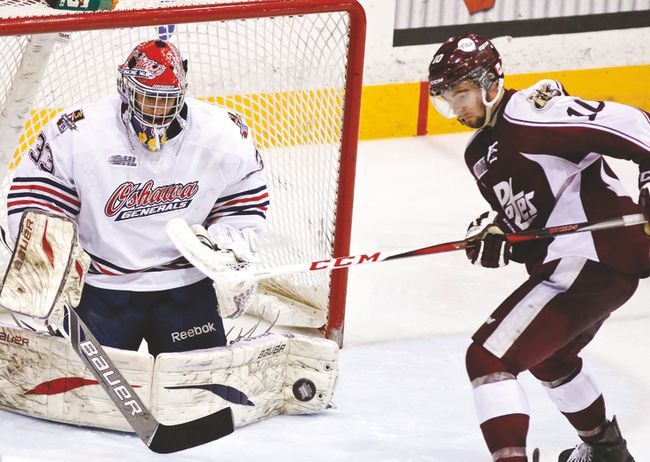 Kemptville's Eric Cornel is pictured in OHL playoff action with the 
