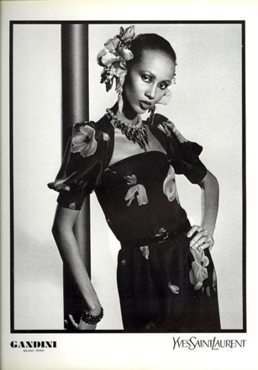 ImanThen: Iman was discovered while studying at university in Egypt. She moved to the U.S. in the late '70s to pursue modelling, and covers with Vogue ensued. She's walked the runway for Versace, Yves St Laurent and Donna Karan just to name a few. In 1994, she started her own cosmetics company with a focus on creating makeup for diverse skintones. (Yves Saint Laurent)