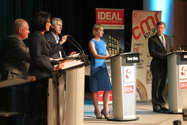 Toronto mayoral candidates Olivia Chow, Mayor Rob Ford, David Soknacki, Karen Stintz, and John Tory in debate this evening. This is their first debate together since Mayor Ford returned from rehab on Tuesday, July 15, 2014. (STAN BEHAL/Toronto Sun)
